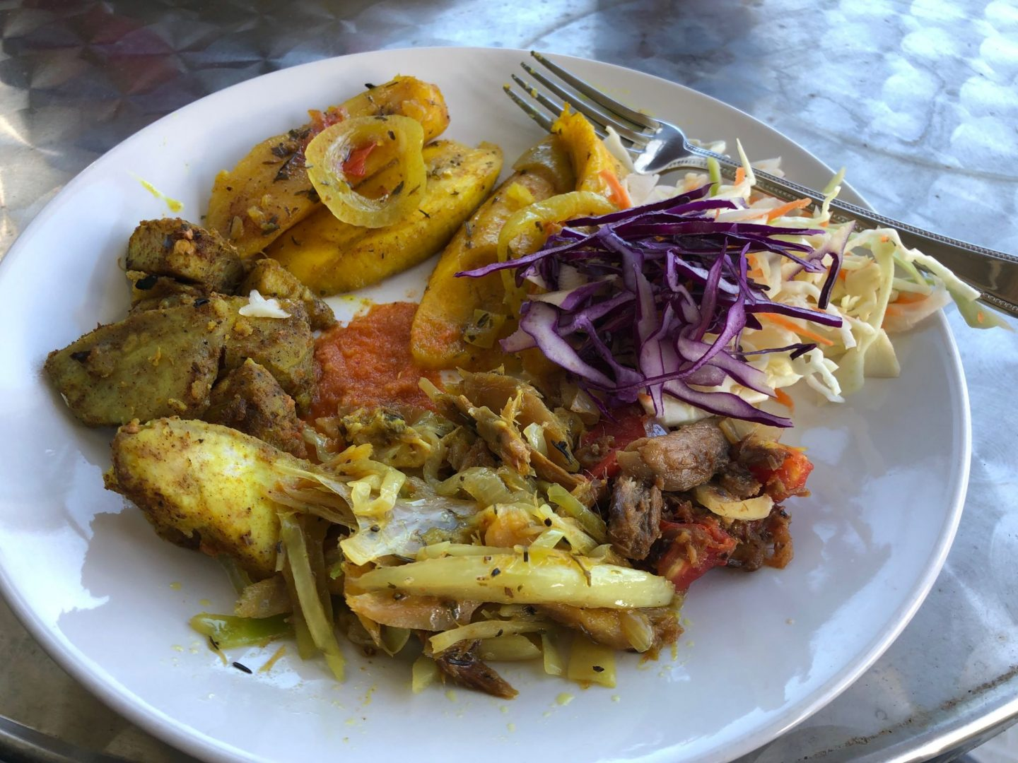 Delicious Fried spice breadfruit , plantains and salt fish