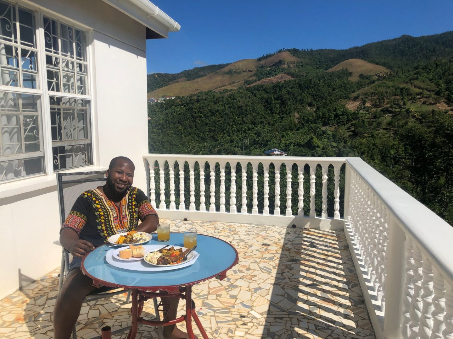 Eating some tasty Dominican dishes on the Veranda