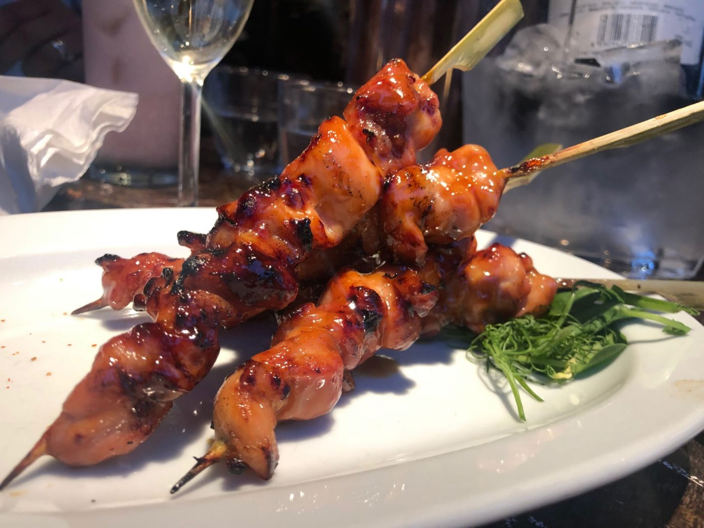 The duck and rice Grilled chicken skewers : Yakitori