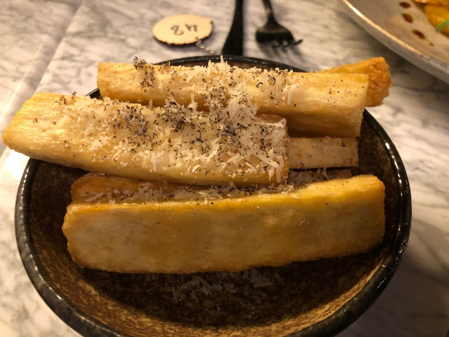 Double fried yam chips in duck fat