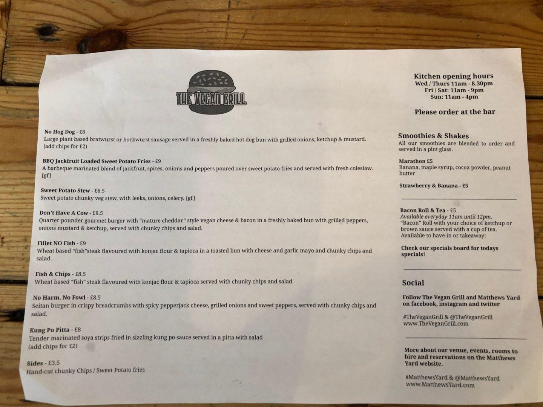 The Vegan grill menu