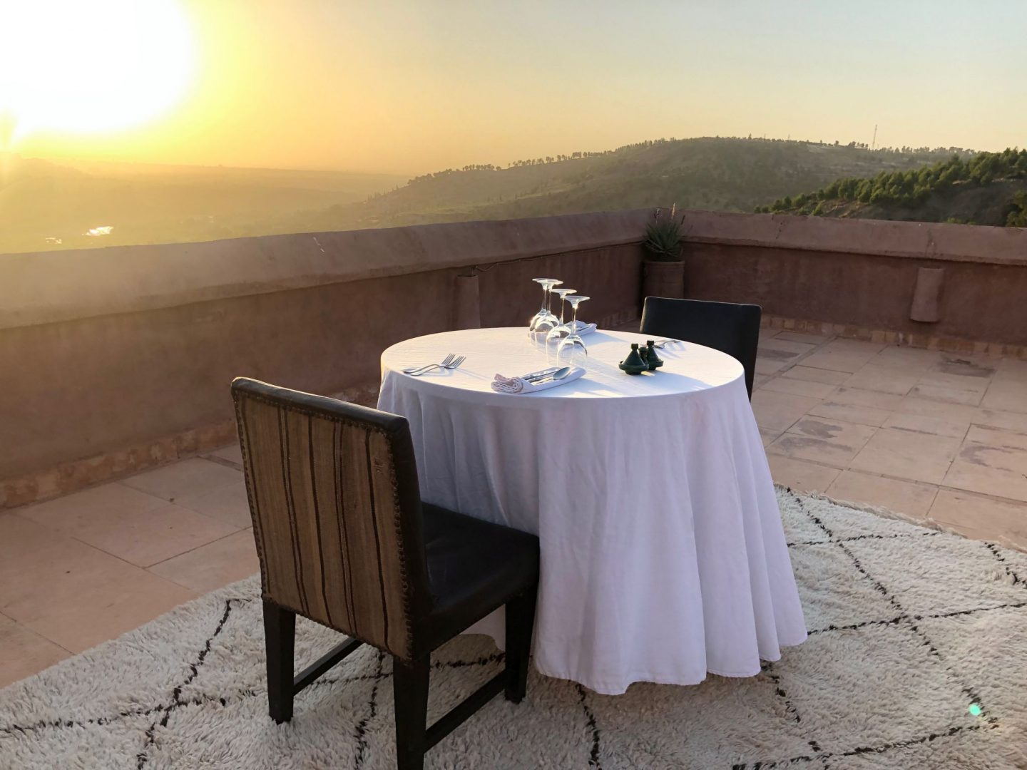 Luxury hotel Bab Ourika with terrace views of the Atlas mountain