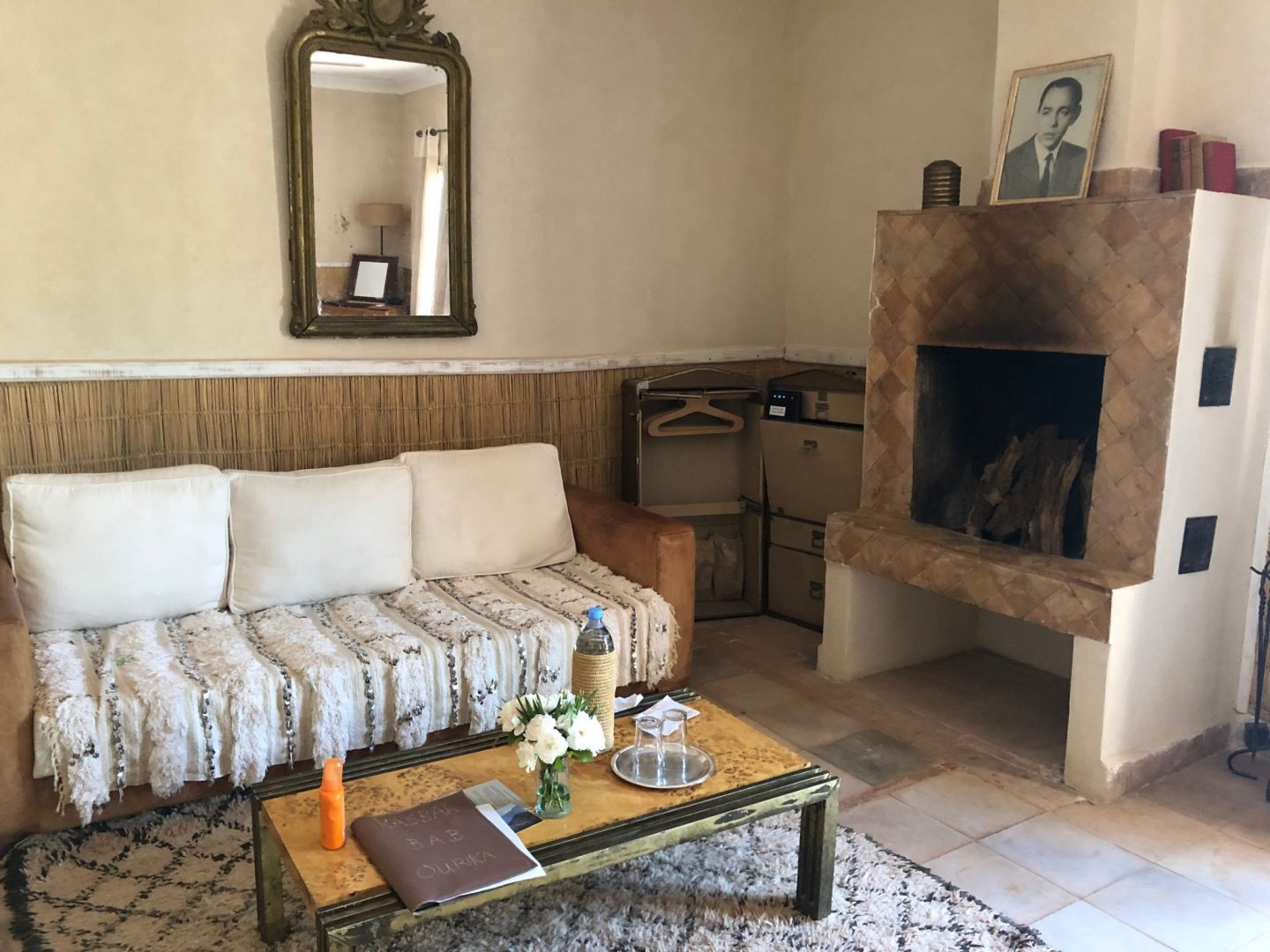 Kasbah Bab Ourika Garden room Bedroom fireplace . Perfect for winters. I love the furniture