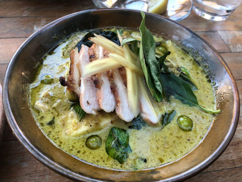Guinea fowl green curry , palm heart , pea aubergine , apple aubergine
