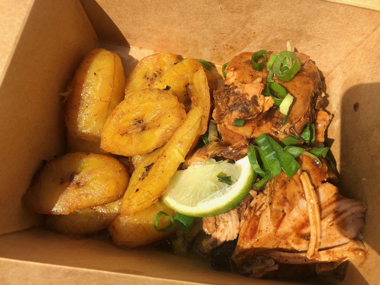 Rudies jerk pork and plantain