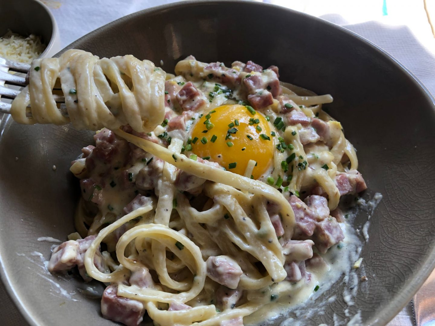 Pasta carbonara at La Sultana Marrakech