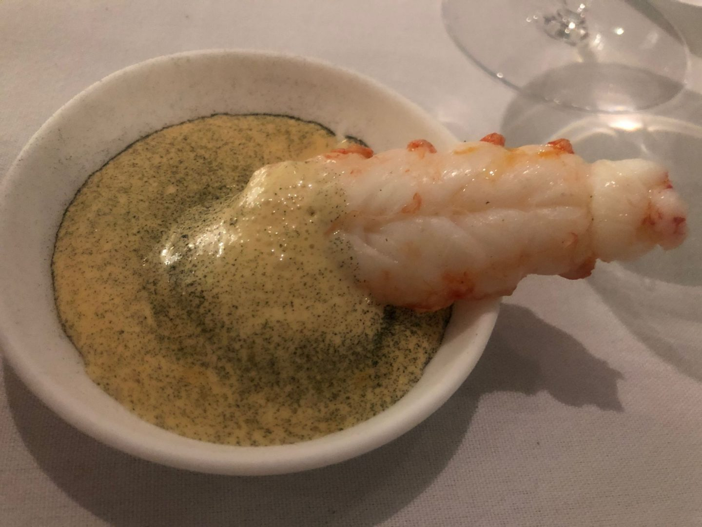 Langoustine with black Garlic mayonnaise and Spirulina powder was a standout dish.