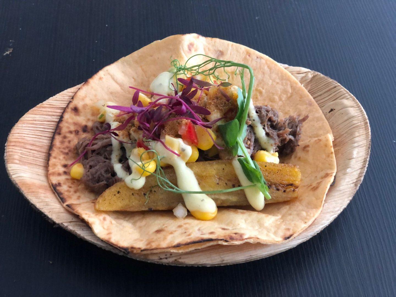 Victors tapas tasting dish , plantain tortilla and suya beef brisket