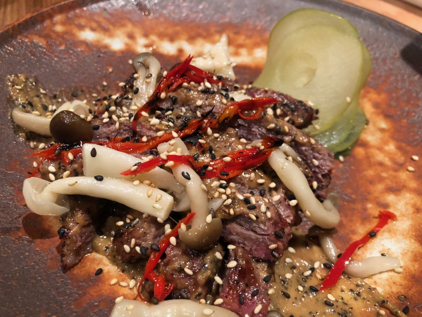 Charcoal fireside cooking at Soho's Robata restaurant : pork pluma : my dish of the evening